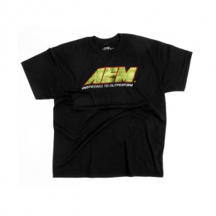 AEM 01-1306-L T-Shirt, Logo Distressed, Black - L