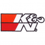 "K&N 89-0019 Patch, 4-1/4"" x 1-3/4"", Wht, logo, Blk Outline"